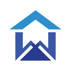 house logo, letter w under roof of the house logo