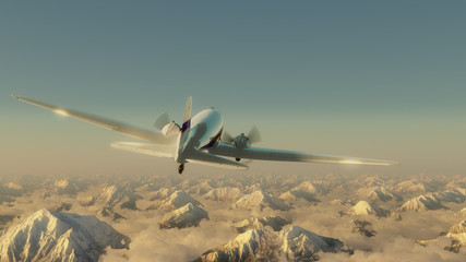 Airplane above the mountains