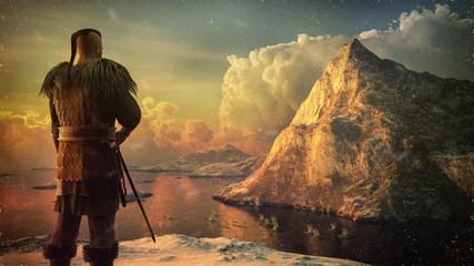 Viking warrior and ships