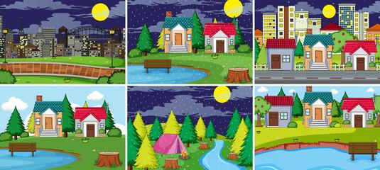 Set of rural and urban landcape