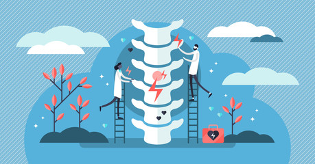 Chiropractor vector illustration. Tiny alternative medicine person concept.