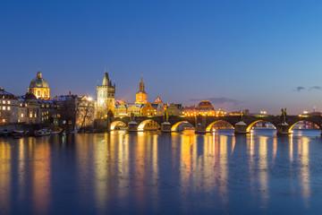 Fototapete - Prague at Night, illuminated Charles Bridge