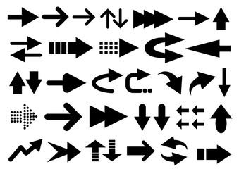 Vector set of arrow shapes isolated on white...