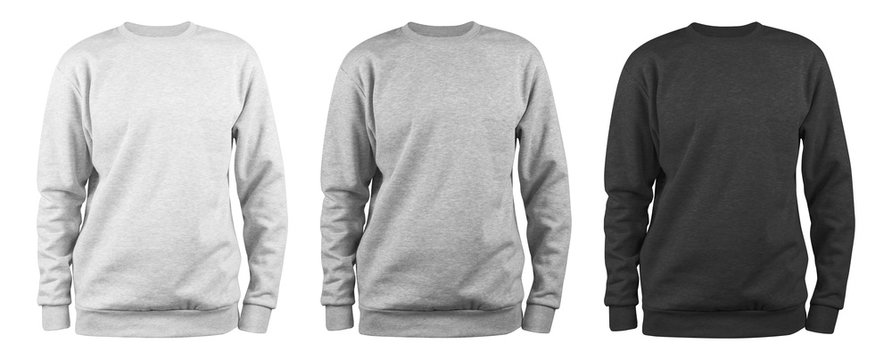 set of men's blank sweatshirt template - white, grey, black, natural shape on invisible mannequin, for your design mockup for print, isolated on white background..
