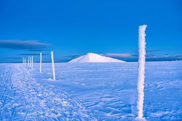 Winter scene of peak of the Snezka in the Krkonose Mountains, Czech Republic.