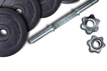 Dumbells and weights on a white background. Fastening screws and barbells.