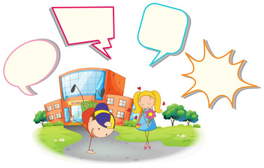Boy and girl with speech balloon