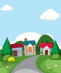 A rural house village scene