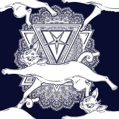 Cat running or jumping seamless pattern on top of ornate pentagram.