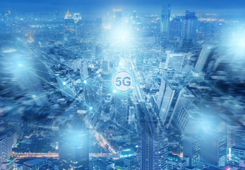 Multiple exposure of 5G connection technology in the complicated city.