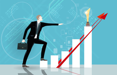Successful businessmen pointing on a growth charts, illuminating the progress. Business concept illustration
