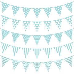 Wimpelketten Muster Nahtlos Blau/Weiß