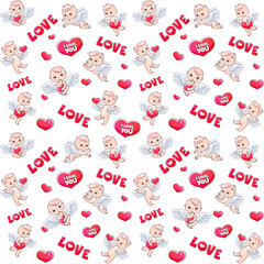 Angels and hearts pattern for Valentine's day gift. Angels with hearts in their hands. Vector seamless pattern with serge and angels babies