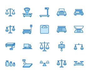 Balance flat line icons set. Weight measurement tools, diet scales, trade, electronic, industrial scale calibration vector illustrations. Thin sign justice concept Pixel perfect 64x64 Editable Stroke