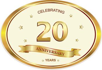 20 years anniversary birthday celebration vector icon, logo golden design