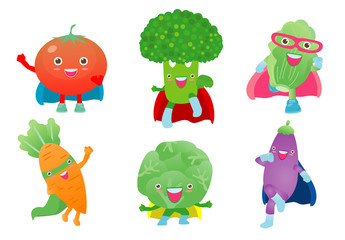 Cute happy Superhero Vegetables in a superhero costume, mask and cloak. Vector concept illustration in a flat style for a healthy eating and lifestyle.Set Of Cute Childish Cartoon Humanized Characters
