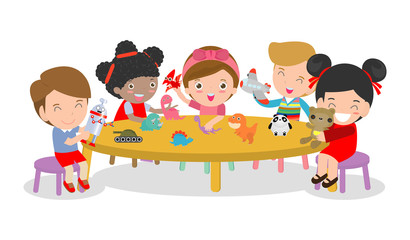happy children's activity in the kindergarten, cute kids with playing toy, Group of happy school child in classroom, education,Vector Illustration
