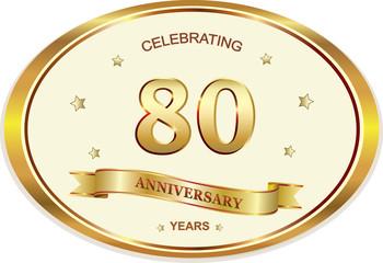 80 years anniversary birthday celebration vector icon, logo golden design