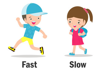 Opposite words fast and slow vector illustration, Opposite English Words fast and slow on white background.