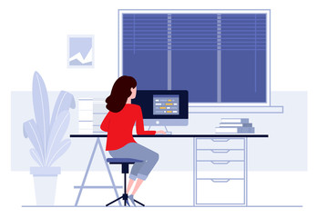 Workplace in office. Business woman working on computer at her desk. Vector illustration. Workspace
