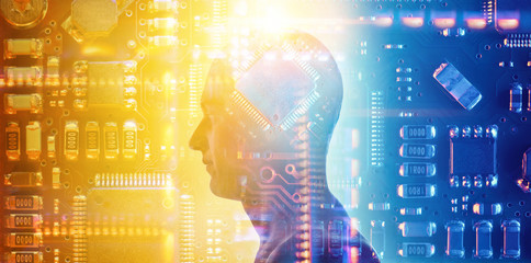 Silhouette of a man with a processor in his head on the background of the electronic Board. Hi-tech fantastic electronics and artificial intelligence concept background. New technology.