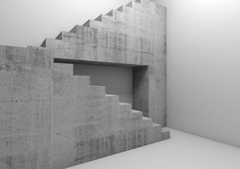 Concrete stairway in empty white room