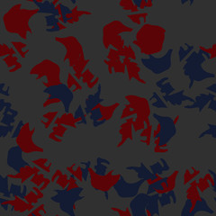 Urban camouflage of various shades of grey, blue and red colors