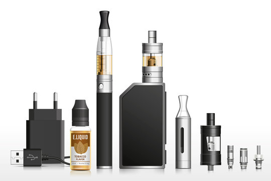 Realistic vector  illustration of vaping elements