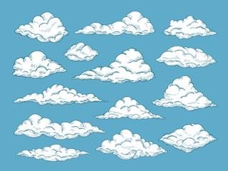 Hand drawn clouds. Pencil sketch sky cloudscape. Outline sketching cloud vintage vector engraved background. Cloudscape drawing, atmosphere doodle sketchy clouds illustration