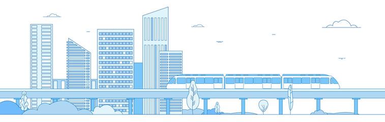 Fototapeta Subway cityscape. Monorail metro train in megapolis futuristic panorama. Underground transportation vector line concept. Express speed, fast train, cityscape building illustration obraz