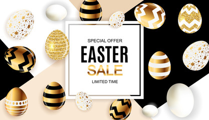 Happy Easter Cute Sale Poster  Background with Eggs. Vector Illustration