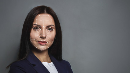 Futuristic and technological scanning of face for facial recognition