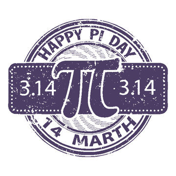 Happy Pi day rubber stamp isolated on white background. 14 march world mathematical holiday event label, greeting card decoration graphic element.The design of the old worn round stamp for holiday