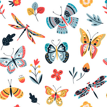 Butterfly pattern. Flying butterflies moths and summer flowers. Seamless fashion trendy fabric texture. Vector wallpaper. Illustration of seamless textile background, pattern summer