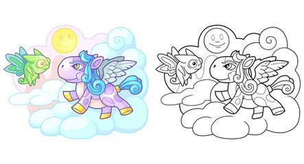little cute cartoon pony pegasus funny illustration