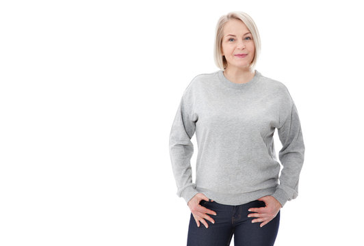 Shirt design and fashion concept. Woman in gray sweatshirt, gray hoodies, blank isolated on white background