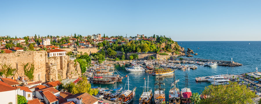 Panoramic view of old harbor and downtown called Marina in Antalya, Turkey, summer