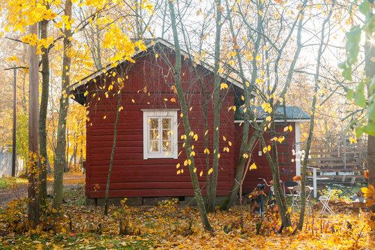 KOUVOLA, FINLAND - OCTOBER 15, 2018: Beautiful autumn in old rustic museum district of Kouvola - Kaunisnurmi