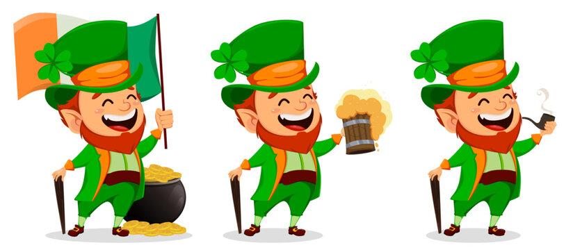 Saint Patrick day. Cartoon character Leprechaun
