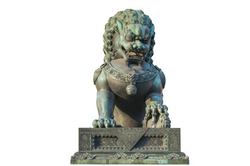 Bronze lion isolated on white