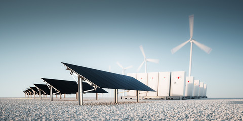 Concept of renewable energy storage at bright clean blue sky environment. Modern black photovoltacis, modular battery energy storage system and a wind turbine system in the background. 3d rendering.