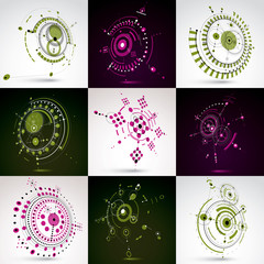 Collection of vector abstract backgrounds created in Bauhaus retro style. Modern geometric composition can be used as templates and layouts. Engineering technological wallpaper made with circles.