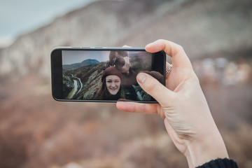 Happy couple taking Romantic selfie. Romantic travel. Portrait Tool