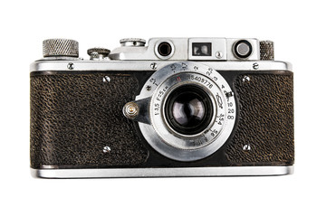 old retro camera on white