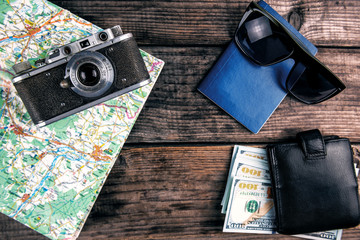 vintage camera passport and money