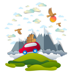 Car travel and tourism, red minivan with luggage riding off road with mountain peaks in background, birds and clouds in the sky, paper cut vector illustration of auto in scenic nature landscape.