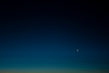 Night sky background. Moon and star in the sky at twilight time.