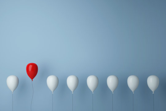 Stand out from the crowd concept with balloons