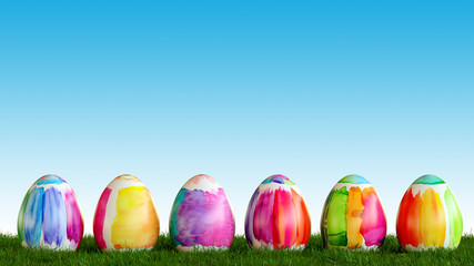 Painted easter eggs are looking on meadow for easter