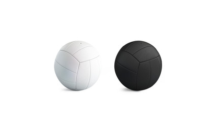 Blank blank and white volleyball ball mockup set, isolated, 3d rendering. Empty playing bal mock up. Clear fun leisure on beach. Activity voley game template.
